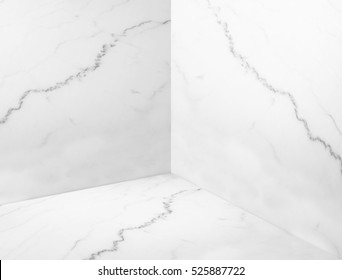 Empty white glossy marble corner studio room background,Mock up template for display or montage of product or design backdrop,Online marketing media