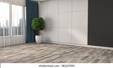 empty white interior. 3d illustration
