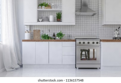 Empty white kitchen with metal stove top oven reflecting chair legs and curtains covering sunlit windows. 3d Rendering