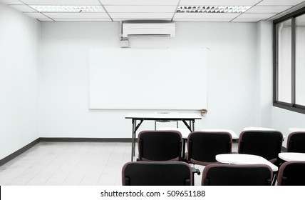 Empty white lecture room of university