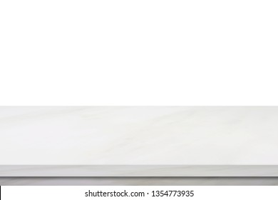 Empty white marble counter, table isolated on white background, Empty marble table top, shelf, counter surface for food and product display montage