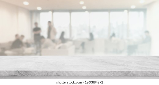 Empty white marble stone tabletop and blurred bokeh office interior space banner background - can used for display or montage your products.