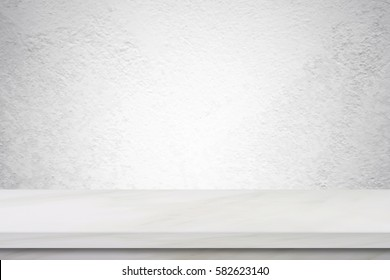 Empty white marble table over cement wall background, product display montage