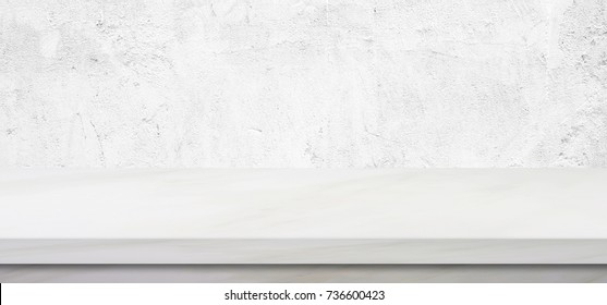 Empty white marble table over green cement wall background, banner, product display montage