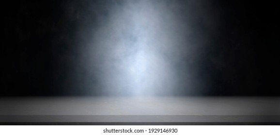 Empty white marble table with smoke float up on dark background for showing or design backdrop.