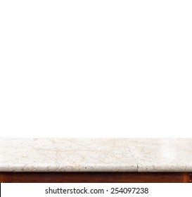 Empty white marble table top isolate on white background, Leave space for placement you background,Template mock up for display of product