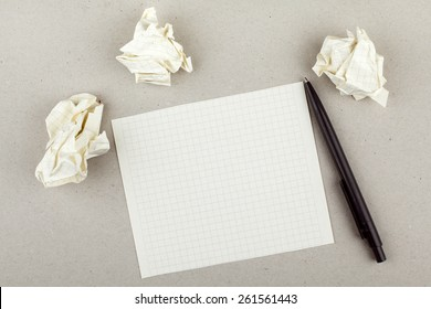 Empty White Note Paper Sheet Pen and Paper Balls
