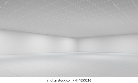 Empty white Office room as background 3d rendering