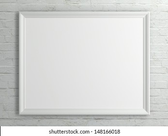 Empty white picture frames hanging on a white brick wall.