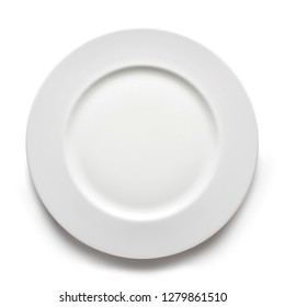 empty white plate from above on white background, with shadow