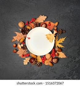 empty white plate and autumn leaves, nuts, cones, acorns, berries. Autumn harvest season, Halloween and thanksgiving day table setting. mock up.