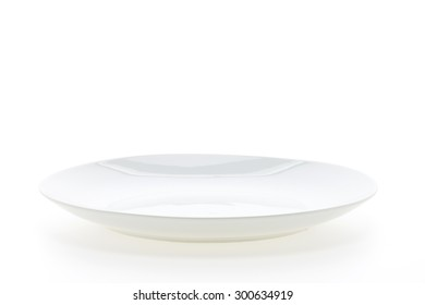 Empty white plate dish isolated on white background