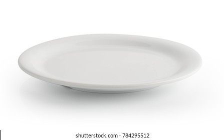 empty white plate isolated on a white background