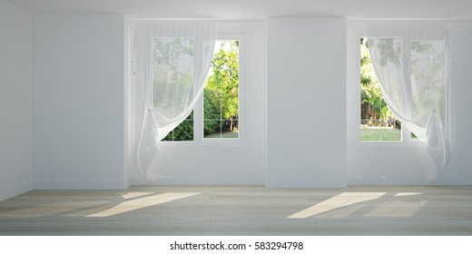 Empty White room can see garden outside from window. Scandinavian interior design. 3D illustration of pool villa room.