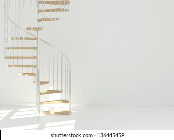 Empty white room with circular staircase, interior design. 3d render