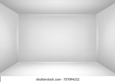 Empty white room. The inner space of the box. Mock up for you business project