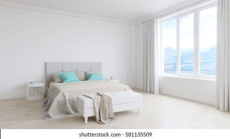 Empty white room interior with bed, white wooden floors, white curtains and large window at beautiful mountains view. 3d rendering.