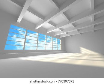Empty white room interior with window to sky. 3d render illustration