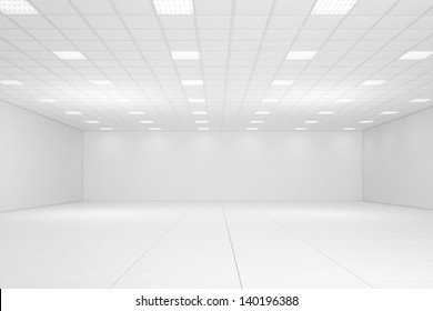 Empty white room with neon lights and white walls