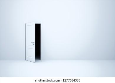 Empty white room with opened lidark way door.