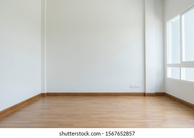 Empty white room and white wall with window.