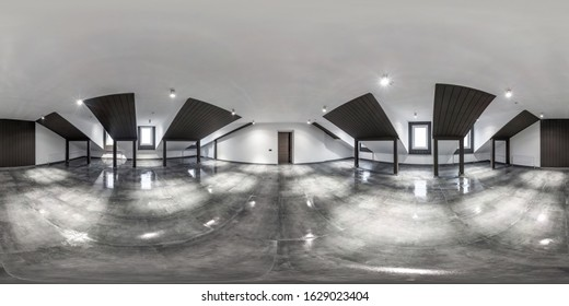 empty white room without furniture. full spherical hdri panorama 360 degrees in interior room in modern apartments,  office or clinic in equirectangular projection