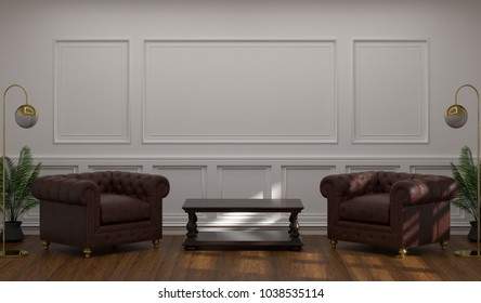 Empty white room,with classic armchair leather style and gold floor lamp,with ornamental plants 3d illustration for interior design.