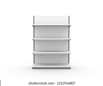Empty white shelf Retail shelves Supermarket stand 3d rendering