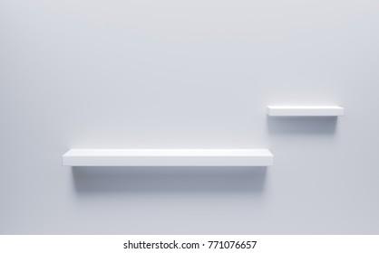 Empty white shelves,3d rendering.