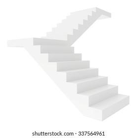 Empty white stairs. Isolated on white background. Way upward.