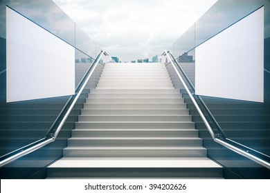 Empty white stairs in pedestrian subway with dull sky. 3D Render