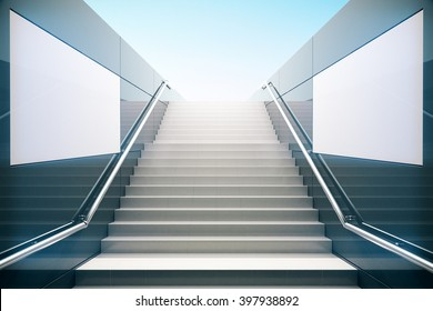 Empty white stairs in pedestrian subway. Mock up,  3D Rendering