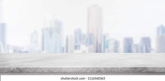 Empty white Stone table top and blur glass window wall building banner background with vintage filter - can used for display or montage your products.