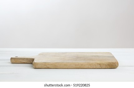 Empty white table with cutting board, product display montage