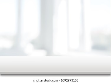 Empty white table over blur background,