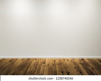 Empty white wall background with wooden floor lit with three small spot lights