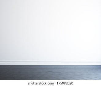empty white wall and black wood floor