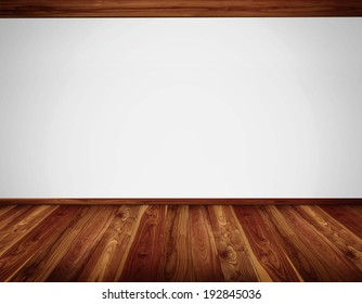 Empty white wall with massive timber ceiling construction and wooden floor