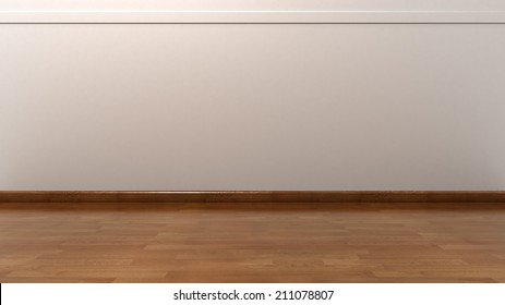 Empty White Wall with Wooden Floor