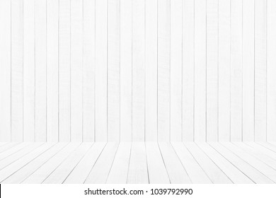 Empty white wooden floor over plank wooden  background.  can be used for montage or display your products