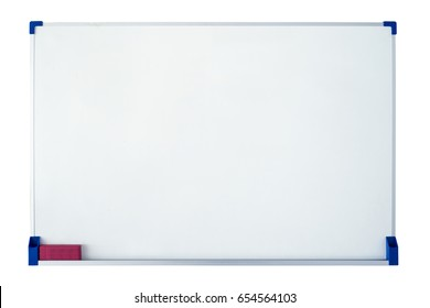 Empty whiteboard with eraser on white background.