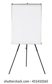 Empty whiteboard on black tripod isolated on white background