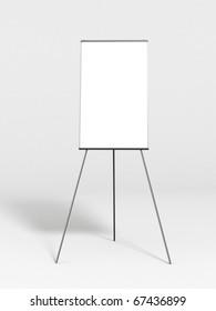 Empty whiteboard in a plain room.