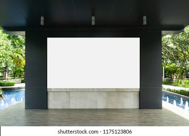 Empty whiteboard with swimming pool as background