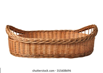 Empty wicker basket handmade isolated on white