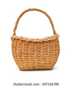 Empty wicker basket isolated