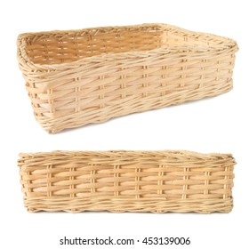 Empty wicker basket isolated with clipping path