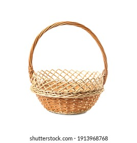 Empty wicker basket isolated on white. Easter item