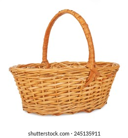 Empty wicker basket. Isolated on white