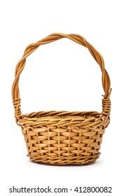 Empty wicker basket, isolated on white background
